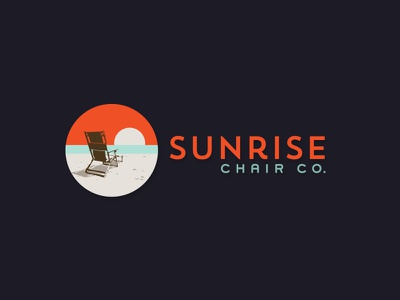 Sunrise Chair Co. Logo endless summer sunset ocean sand beach manufacture chair sunrise sun mark icon logo