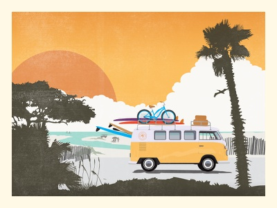 Chiringo VW Bus surf beach travel poster vw bus sun tree palm surfboard bike vintage