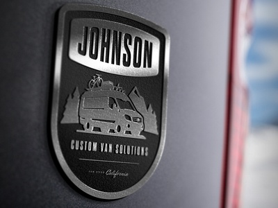 Johnson Custom Van Solution Logo adventure mountain sprinter emblem van badge