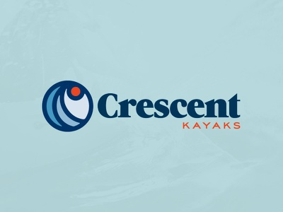 Crescent Kayak Logo  80s branding logo sun retro kayak water wave
