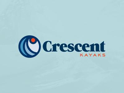 Crescent Kayak Logo  80s branding logo sun retro kayak water wave
