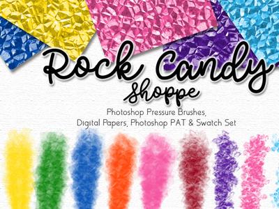 Rock Candy Shoppe Photoshop Designer Set bright colors illustration logo brushes papers kit design branding photoshop digital papers