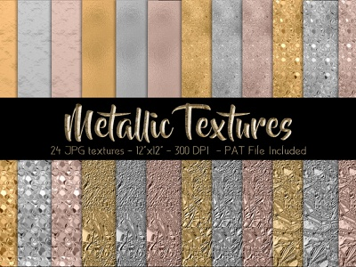 Metallic Textures papers kit design photoshop pat file digital papers