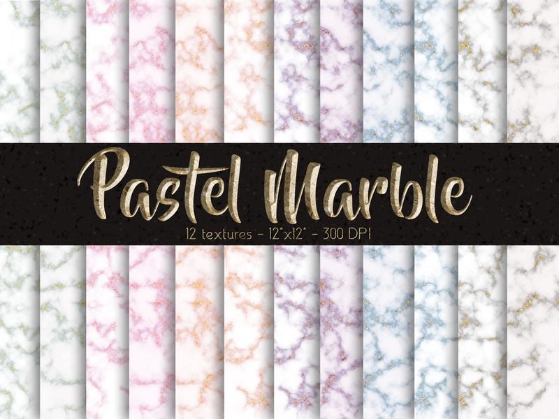 Pastel Marble Digital Paper Set branding kit papers design photoshop digital papers