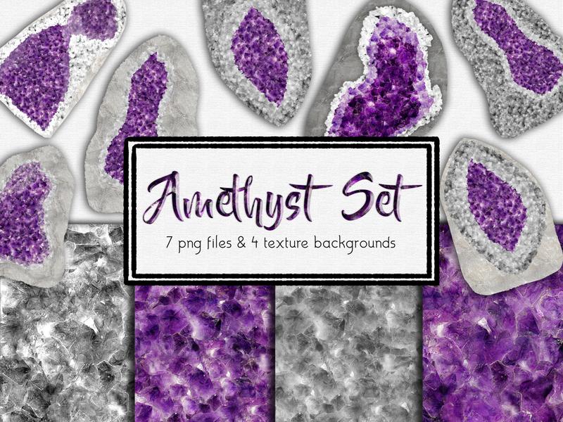 Amethyst Digital Design Set sparkle gems crystals purple amethyst stone amethyst stone hand drawn type photoshop design papers branding digital papers