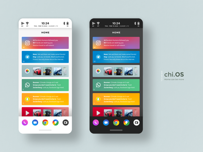 chi.OS - Home can be more ios android typography userexperience userinterface ux ui mockup applauncher launcher apps home iphone concept layout homescreen operatingsystem os phoneos phone
