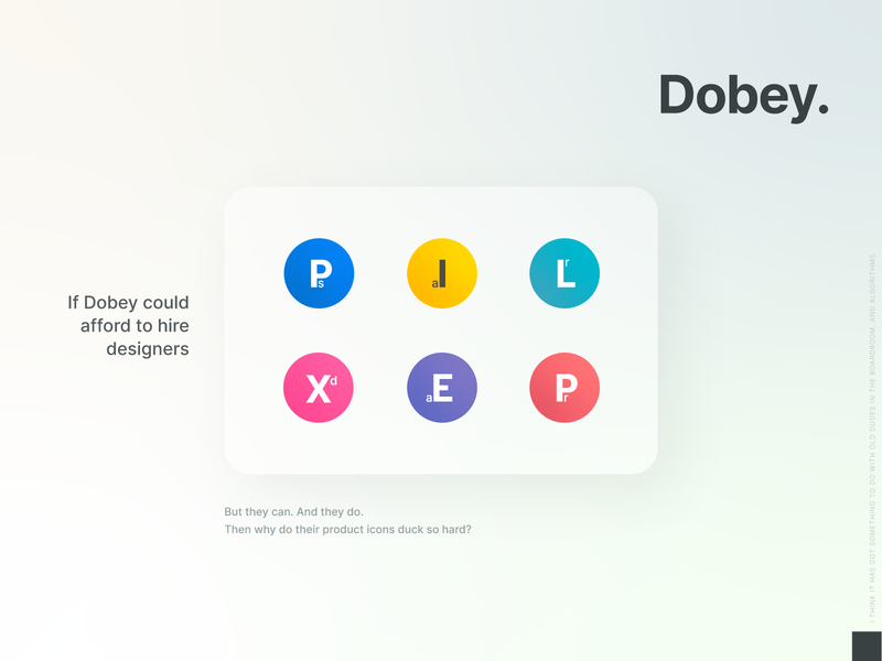 What Dobey could have been. adobe lightroom adobe after effects adobe premiere pro adobe illustrator adobe photoshop adobe xd adobe icons design concept card logo logotype brand identity product icon product icons icons set icons