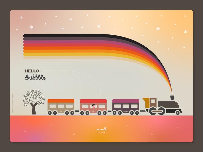Hello Dribbble! invited invite thanks graphic design illustration card poster train locomotive warm colors colour theme snowflakes warmth winter sunset snow