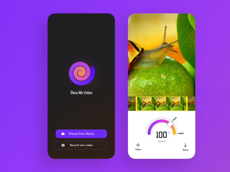Slo-Mo Video player playback video tool video maker speedometer speed tool visual design snail video edit video editor slow motion slowmotion editor photo video ui mobile app ios