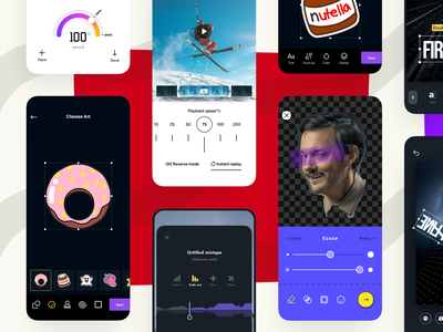 A Series of Apps for Photo and Video Editing ui app ios mobile photo manipulation photo effects video app photo app photo video tool sticker effects editing filters camera ar