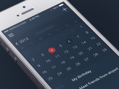 Calendar iphone ios ios7 ui calendar dates timeline dark app time management
