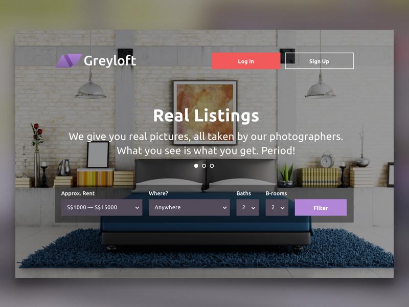 Greyloft web promo landing filter real estate start site responsive photo hero page