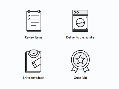 Order processing medal star shirt washing list check laundry delivery process icon icons