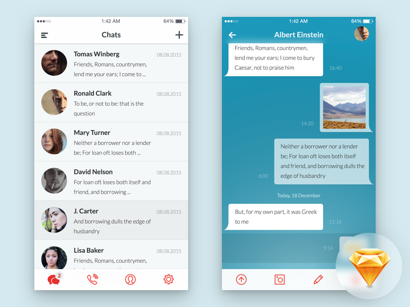 Messaging App UI Freebie sketch freebie free chat ui app ios messaging conversation dialogs messenger