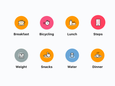 Icon set for fitness app.