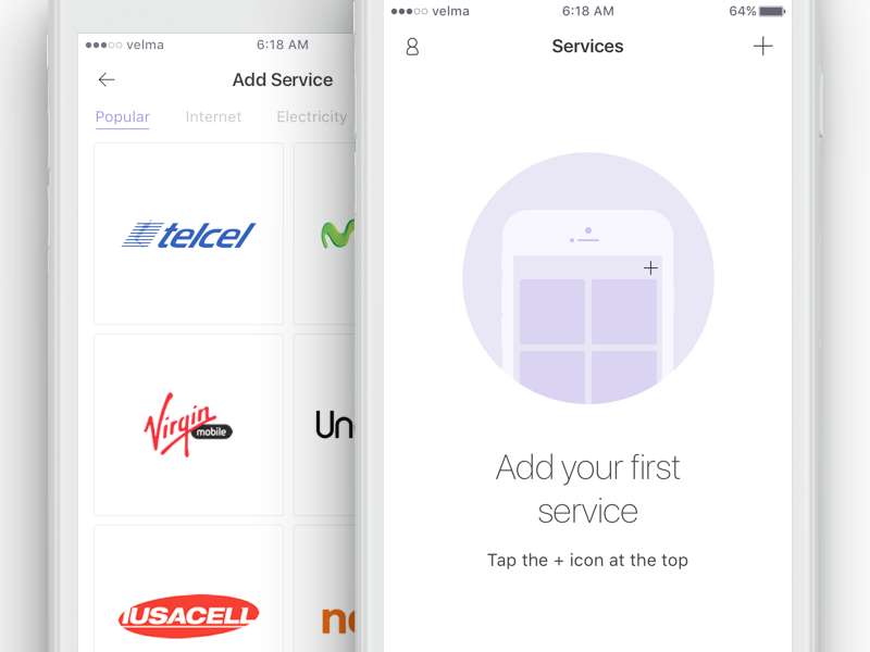 Add your first service iphone design ios app add oboarding list