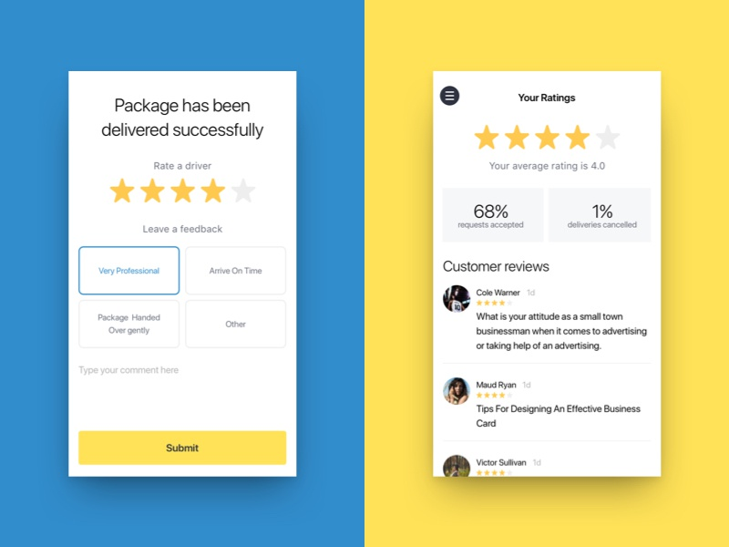 Rate a driver feedback star rating rate iphone ios app car taxi uber on-demand delivery