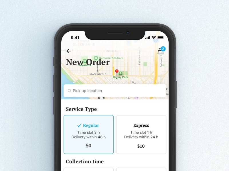 Checkout for a delivery app cart laundry on-demand ecommerce mobile map service location iphone x checkout delivery ios