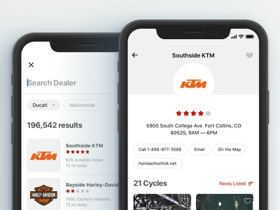 Dealers pop-up overlay explore iphone x mobile commerce shop app ios search cycles marketplace