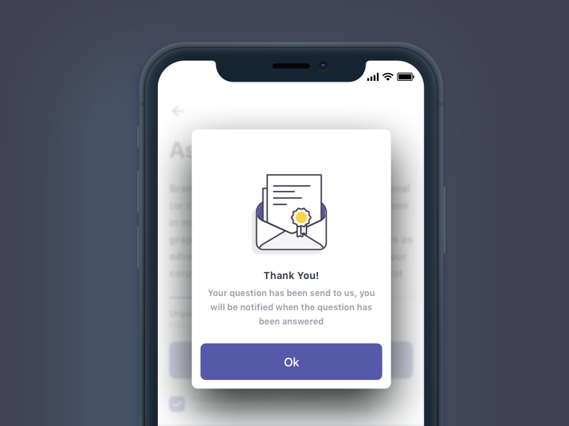 Confirmation Screen design user interface user experience iphone email icon pop-up overlay mobile confirmation illustration ios