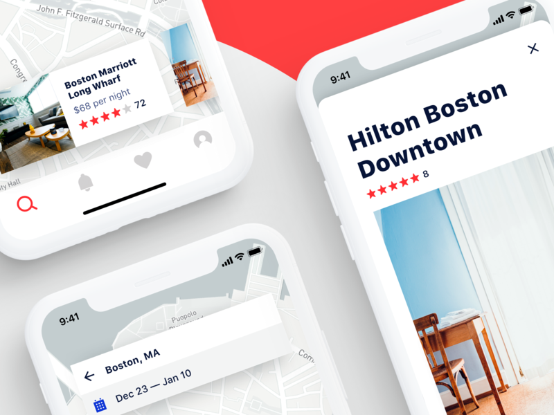 Hotel Booking App room listing page listings boobies rent real estate home mobile ui iphone cards map ios app airbnb hotel app hotel booking hotel book booking