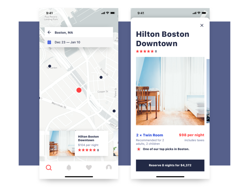 Hotel Booking App booking book hotel hotel booking hotel app airbnb app ios map cards iphone ui mobile home real estate rent boobies listings listing page room