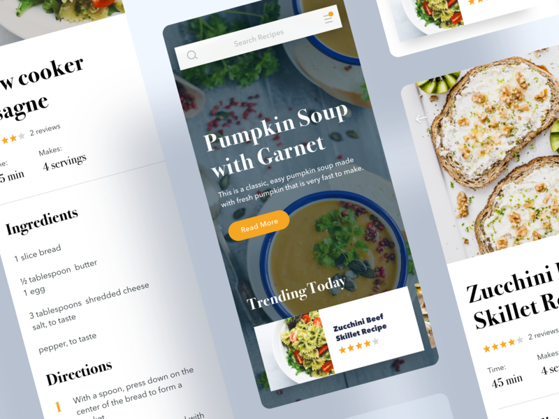 Recipe App Home Screen & Recipe Details directions instruction user inteface user experience mobile app ios food and beverage food and drink food app food cooking app cooking cookbook cook recipe card recipe book recipe app recipes recipe