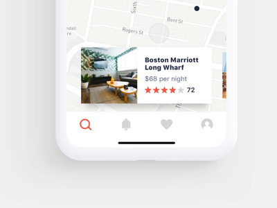 Browsing Listings with a Hotel Booking App room listing page listings rent real estate home mobile ui iphone cards map ios app airbnb hotel app hotel booking hotel book booking animation
