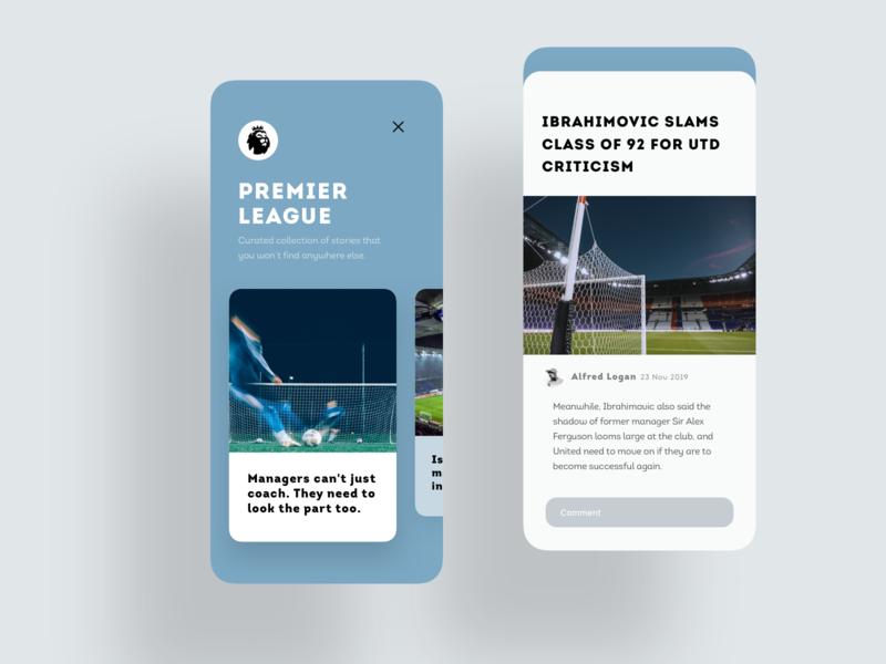Sportswriting Media App design iphone ui text typogaphy football soccer sport book read reader sport app news app news feed news feed article sport app mobile ios