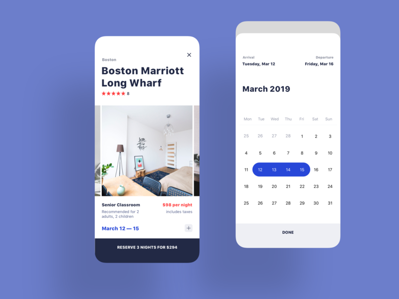 Booking Process real estate app ios app ui iphone mobile calendar date picker hotel app hotel home airbnb reservation booking app details real estate booking