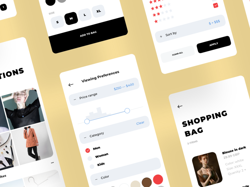 Fashion Shopping Mobile App clean filter and sort filter cart bag photo fashion mobile ecommerce shopping app shop shopping feed flat collection board ios 应用 设计