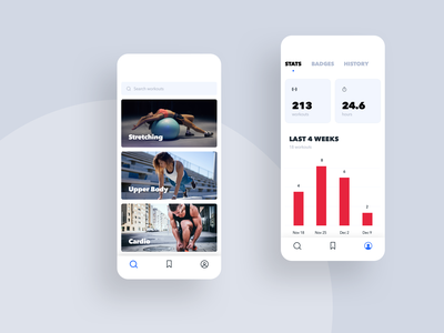 Workouts & Tracking Fitness App ios mobile design ui ui  ux user interface user experience mobile app design mobile app dashboard app video profile tracking workout fitness app fitness