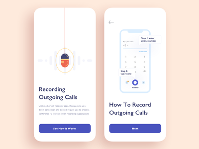 Tutorial Screens / Call Recording App for iOS / Onboarding iphone ui vector illustration mobile app ios tutorials onboarding tutorial walkthrough