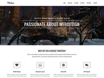 Thirteen web design site template creative themeforest responsive themes portfolio showcase