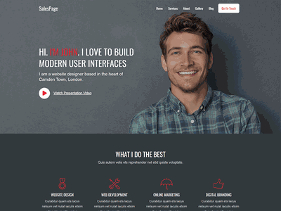 SalesPage - Landing Page Template for Creative Agencies, Apps, P marketing agency freelancer hair salon barbershop website webinar landing page webinar tattoo design tattoo artist tattoo agency landing page freelancer work freelancer portfolio barber shop barbershop portfolio website startup template product launch landing page