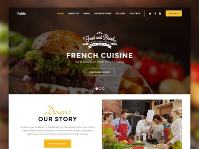 Fable - Bakery / Coffee / Pub / Restaurant Site Template reservation raw vegan pub italian pizza grill french cuisine food coffee cafe bistro bar bakery