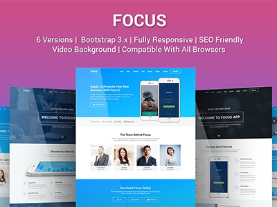 Focus - Multi Purpose App Landing Page Template bootstrap html template app marketing product launch responsive landing page marketing app