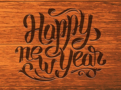 happy new year lettering wood vintage elements type calligraphy vector typography lettering happy new year 2016