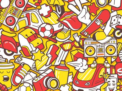 Graffiti seamless pattern with urban lifestyle line icons