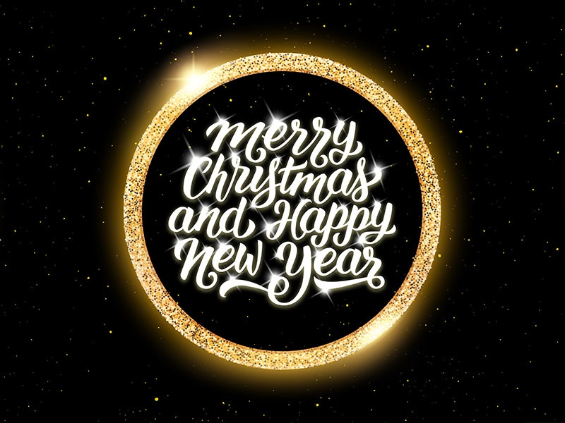 Merry Christmas and Happy New Year lettering golden luxury lettering typography banner design card greeting merry happy new year christmas