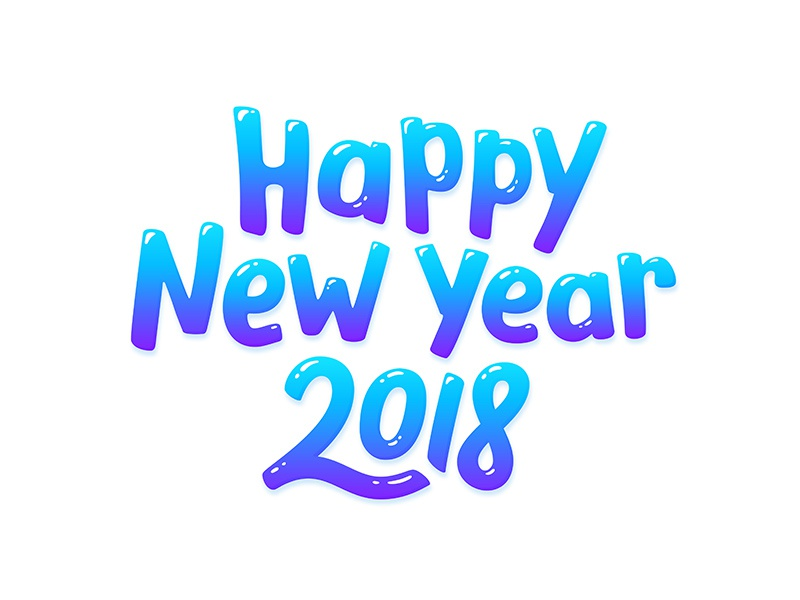happy new year 2018 lettering glossy candy vector typography text lettering 2018 year new new year