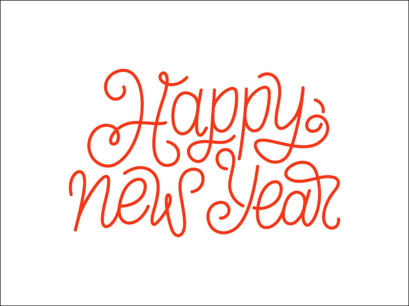 happy new year 2018 card 8 design by yurlick line art vector design text typography calligraphy
