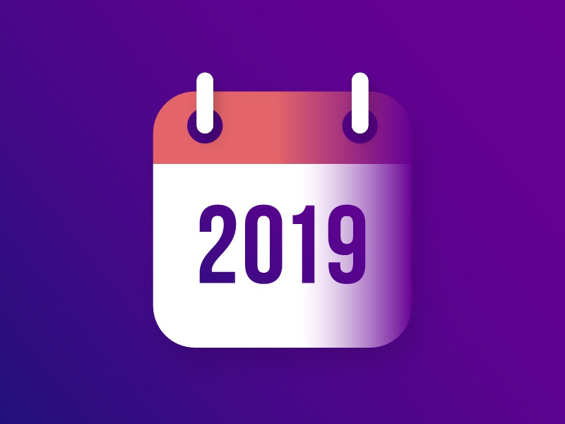 calendar icon for 2019 new year banner greeting card happy new year sign logo vector design