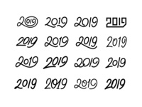 2019 Numbers Set. Lettering for New year card