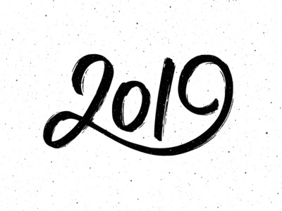 Happy New Year 2019 calligraphy logo vintage poster background 2019 for sale number one text greeting design card banner new year calligraphy vector lettering typography
