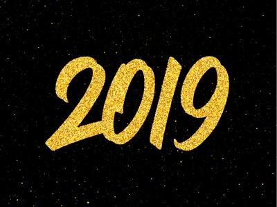 Happy New Year 2019 poster design happy year text greeting for sale poster background new year design banner card vector calligraphy lettering typography number 2019 glitter golden gold