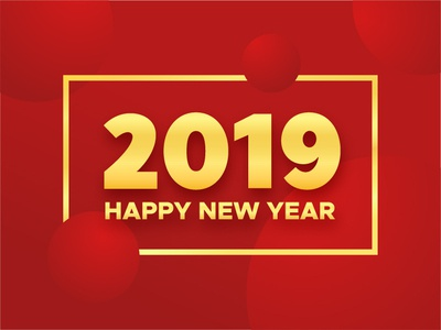 Happy New Year 2019 banner gold red greeting card type illustration for sale happy poster banner background new year text greeting design card vector year new 2019 typography