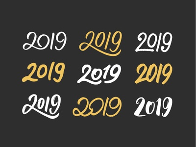 Set of 2019 calligraphic numbers sticker new type year vintage greeting design card for sale logo happy poster banner text vector new year calligraphy lettering typography 2019