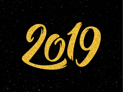 Happy New Year 2019 sticker new year illustration type for sale happy poster banner background text greeting design card vector calligraphy lettering typography new year 2019