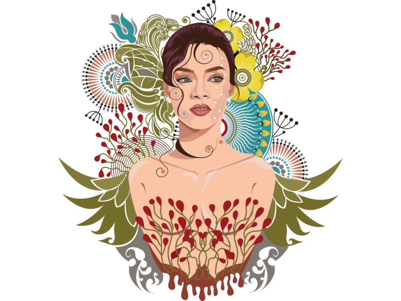 Rihanna rihanna tattoo art goddess girl with flower flowers illustration design girl illustration tattoo flowers flower